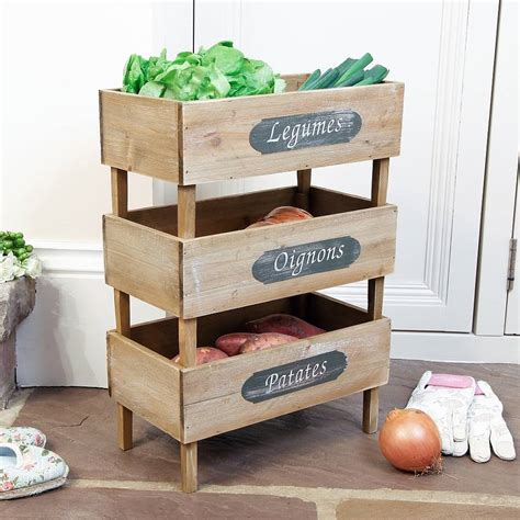 kitchen vegetable storage set of three wooden stacking produce crates by dibor 3434