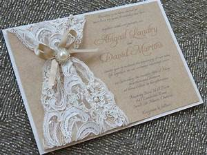 ABIGAIL Lace Burlap Wedding Invitation Customizable