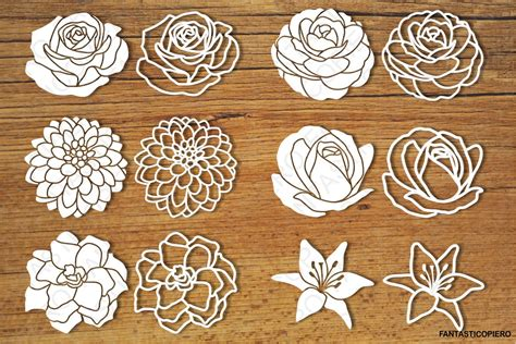Learn to make your own svg cut files for free in inkscape. Flowers set 2 SVG files for Silhouette and Cricut. (80710 ...