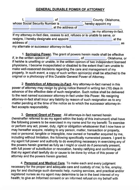 oklahoma living will forms free oklahoma medical power of attorney form living will