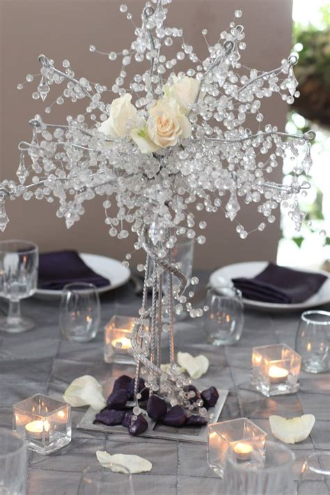 A Sparkling Wedding Table Centerpiece I Would Use Less