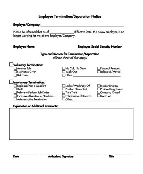 separation notice template  word  document