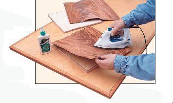 applying unbacked  sliced veneer sheets  yellow