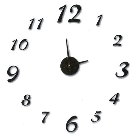 pendule de cuisine horloge sticker murale chiffres 3d en mousse noir