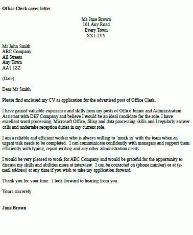 office clerk cover letter exle icover org uk