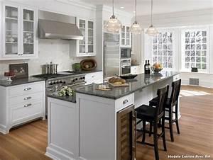 Modele cuisine avec ilot with classique chic cuisine for Idee deco cuisine avec modele cuisine amenagee