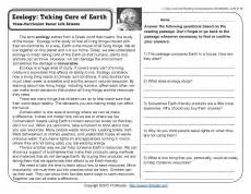 Figurative Language Worksheets 5th Grade Ecology Taking Care Of Earth 4th Grade Reading Comprehension Worksheet