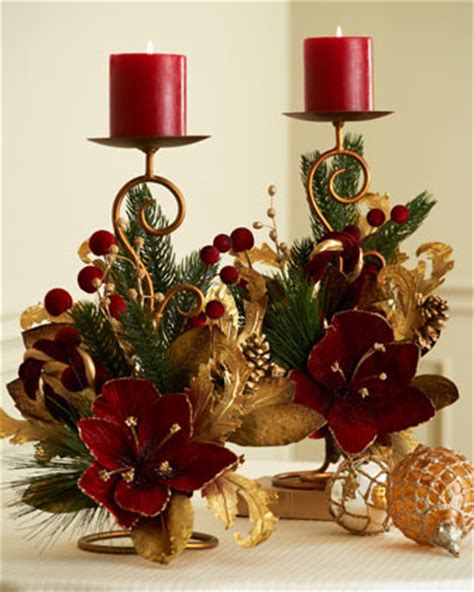 two burgundy gold candleholders traditional holiday