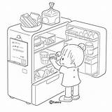 Coloring Refrigerator Pages Opening sketch template