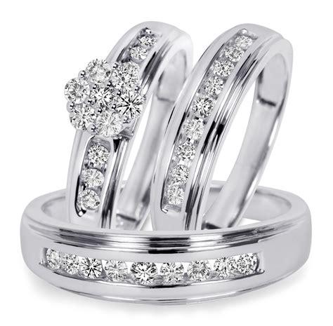 trio wedding rings white gold 3 4 ct t w trio matching wedding ring 14k white gold my trio rings bt501w14k