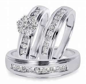 3 4 ct tw diamond trio matching wedding ring set 14k With matching trio wedding rings