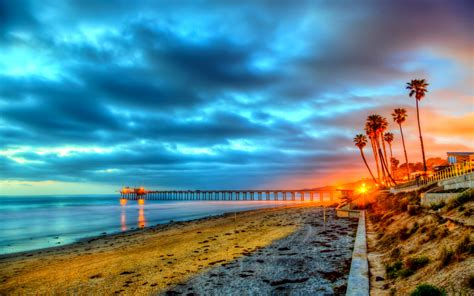 San Diego California Beach Sunset Wallpaper Media File
