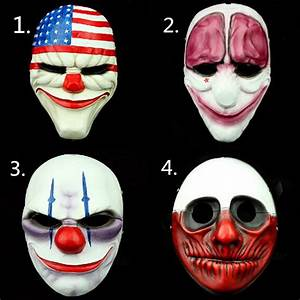 (4PC/Lot) Wholesale PVC Payday 2 Halloween Mask Mascaras