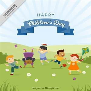 Background of lovely children playing in the park Vector ...