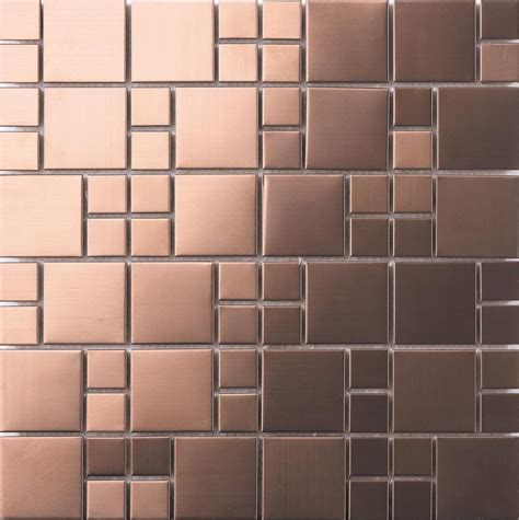 Brushed Copper Effect Stainless Steel Mosaic Tiles (MT0174