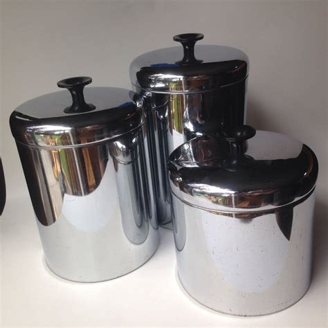 Kitchen Canisters Metal by Vintage Pantry Set Of 3 Stainless Canisters 1950 S