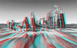 Ground fractal rocks - 3D stereo anaglyph image (red/cyan