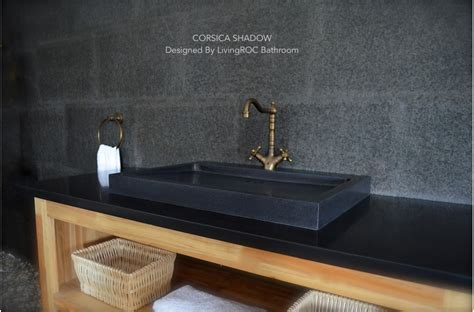 "27"" Black Granite Stone Single Trough Bathroom Sink"