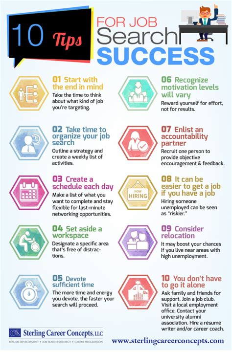 infographic  tips  job search success sterling