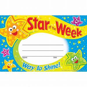 star of the week way to shine reward certificate from With star of the week certificate template