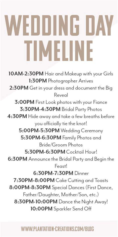 wedding day timeline memo heading