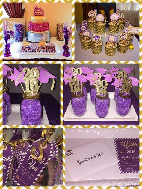 purple  gold theme graduation partyfor invitation