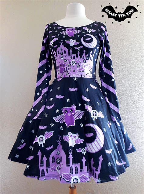 Spooky Bats u2606 Long Sleeve Skater Dress u2606 Made To Order Creepy cute Kawaii Pastel Goth ...