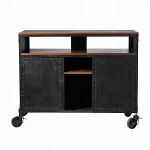 Meuble Bar Maison Du Monde : mobile bar nero a rotelle in metallo l 127 cm industry ~ Nature-et-papiers.com Idées de Décoration
