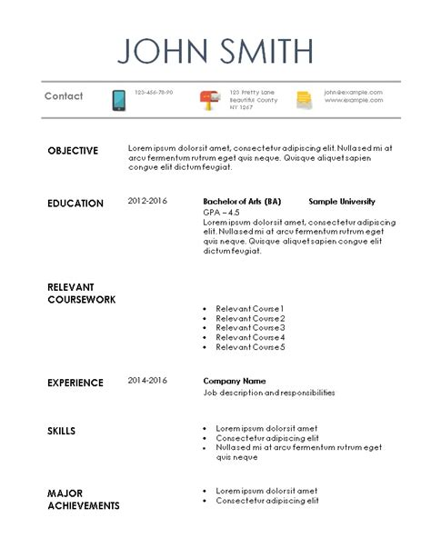 format of a resume for an internship internship resume template