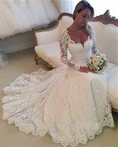 vintage lace wedding dresses with sleeves 2015 lace wedding dresses sleeves mermaid wedding gowns sweetheart appliques vintage cheap