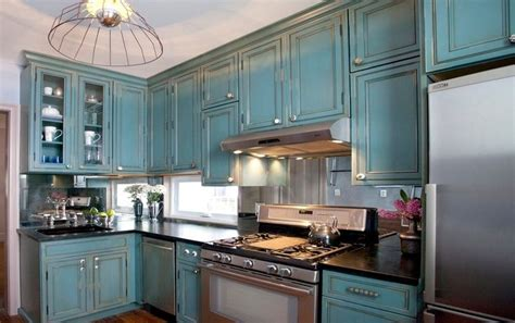 Kitchen Cousins Antiqued Teal Cabinets