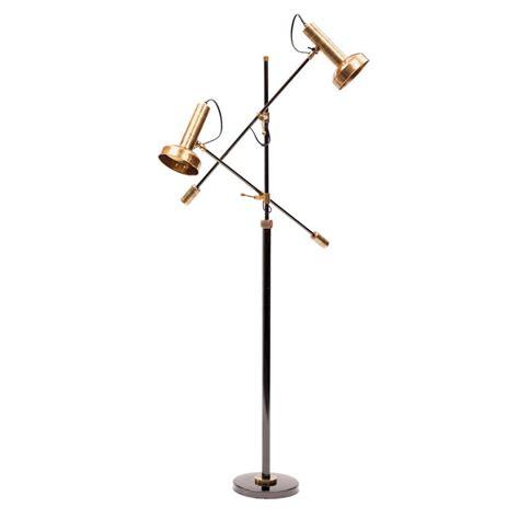 modern reading floor lamp  brass shades mid century