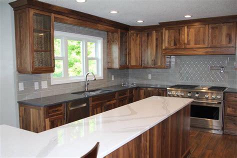omega natural walnut cabinets cambria britannica quartz island ms international dove gray