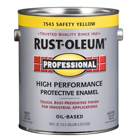 rust oleum professional safety yellow gloss based enamel interior exterior paint actual net