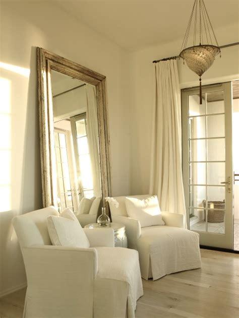 beveled floor mirror transitional bedroom  iron gate