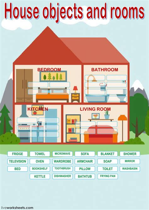 house objects  rooms interactive worksheet