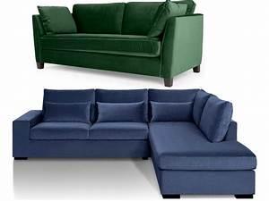 Canapé Bleu Marine : canape angle velours maison design ~ Teatrodelosmanantiales.com Idées de Décoration