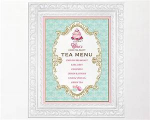 Items similar to high tea party menu sign kitchen tea for Tea party menu template