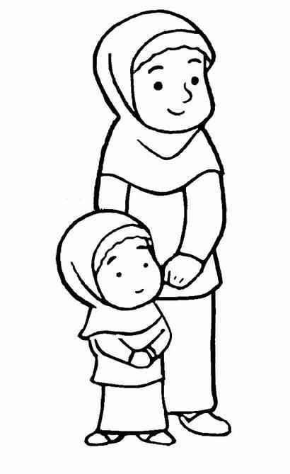 Anak Mewarnai Gambar Muslim Sketsa Kartun Muslimah