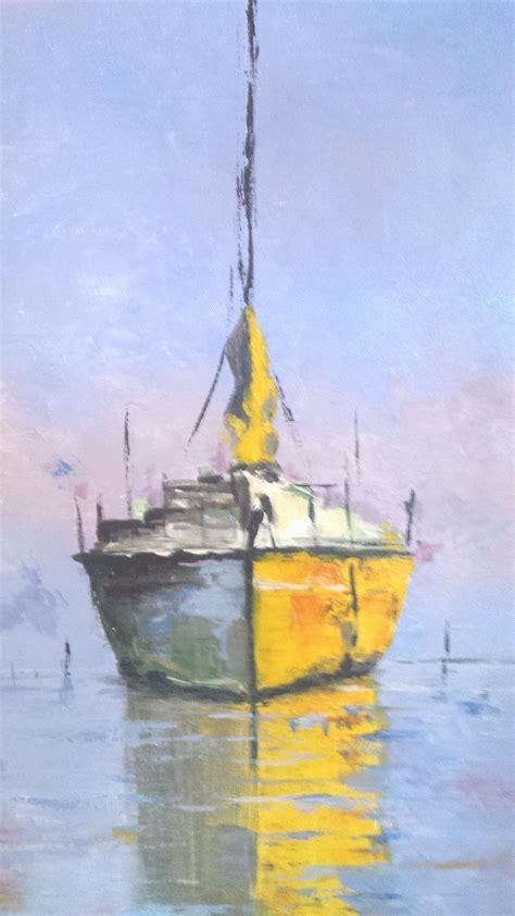 Sailboat At Sea by Sailboat At Sea Pallette Knife Original Acrylic Painting