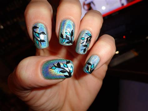 teal holographic nail art gallery