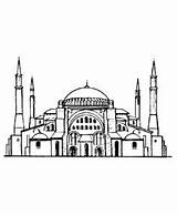 Coloring Medieval Istanbul Church Ayasofya Pages Turkey Churches Mosque Hagia Fantasy Sophia Drawings Sheets Drawing sketch template