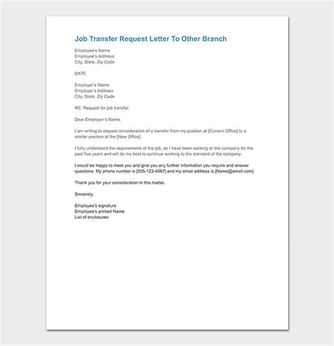 job transfer request letter   write  format