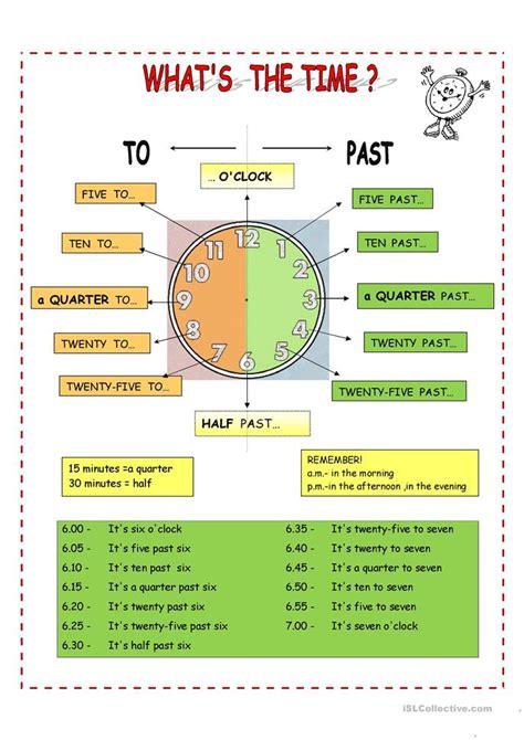 esl time worksheets