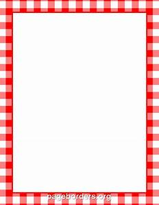 Printable menu border with a red and white gingham pattern ...