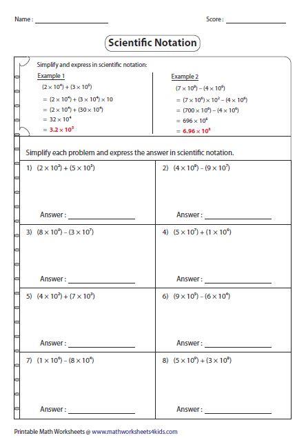 Scientific Notation Worksheet Addition Subtraction Multiplication Division