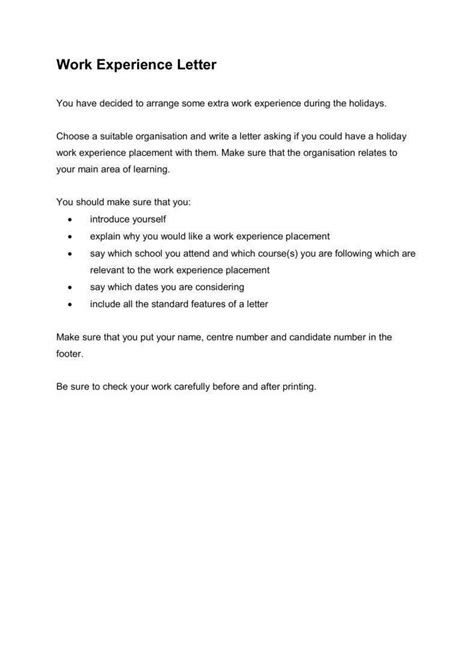 work experience letter templates  word