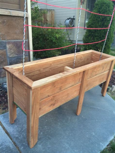 planter box     stained fence pickets