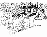 Treehouse Coloring Drawing Amazing sketch template