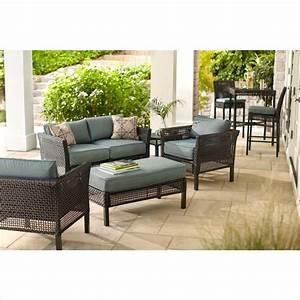 hampton bay fenton 4 piece wicker outdoor patio seating With home depot hampton bay wicker furniture